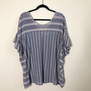 Lucky Brand striped flutter ruffle sleeve top